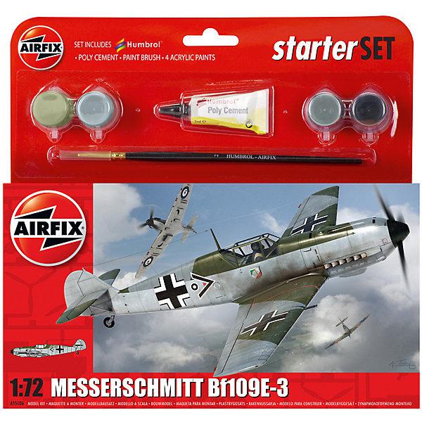 Подарочный набор Airfix Истребитель Messerschmitt Bf109EAirfix3  1:72Военная техника и панорама<br>Характеристики:<br><br>• возраст: от 8 лет;<br>• материал: пластик;<br>• количество элементов: 47;<br>• масштаб: 1:72;<br>• схема покраски;<br>• в наборе: клей, кисточка, 4 краски;<br>• длина модели: 12,6 см;<br>• размах крыльев: 16,6 см;<br>• вес упаковки: 135 гр.;<br>• размер упаковки: 23,3х3х22,5 см;<br>• страна бренда: Великобритания.<br><br>Модель для сборки Messerschmitt Bf109E-3 от Airfix изображает одноименный истребитель. Каждая деталь выполнена из качественного пластика, элементы детализированы под покраску.<br><br>В подробной инструкции описаны шаги к созданию идентичной копии самолета. Конструирование модели развивает усидчивость и внимательность, повышает творческие способности и задействует пространственное мышление. Стартовый набор подойдет для начинающих моделистов.<br><br>Готовая модель может стать отличным подарком близким, личным сувениром или частью коллекции сборных моделей.<br><br>Подарочный набор – Messerschmitt Bf109E-3 Starter Set 1:72 можно купить в нашем интернет-магазине.<br>Ширина мм: 233; Глубина мм: 30; Высота мм: 225; Вес г: 135; Возраст от месяцев: 96; Возраст до месяцев: 2147483647; Пол: Мужской; Возраст: Детский; SKU: 7490483;