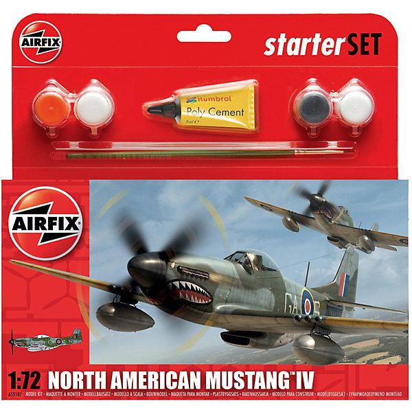 Подарочный набор Airfix Истребитель North American Mustang IV  1:72Военная техника и панорама<br>Характеристики:<br><br>• возраст: от 8 лет;<br>• материал: пластик;<br>• количество элементов: 53;<br>• масштаб: 1:72;<br>• схема покраски;<br>• в наборе: клей, кисточка, 4 краски;<br>• длина модели: 13,6 см;<br>• размах крыльев: 15,6 см;<br>• вес упаковки: 149 гр.;<br>• размер упаковки: 23,3х3х22,5 см;<br>• страна бренда: Великобритания.<br><br>Модель для сборки North American Mustang IV от Airfix изображает одноименный американский истребитель. Каждая деталь выполнена из качественного пластика, элементы детализированы под покраску.<br><br>В подробной инструкции описаны шаги к созданию идентичной копии самолета. Конструирование модели развивает усидчивость и внимательность, повышает творческие способности и задействует пространственное мышление. Стартовый набор подойдет для начинающих моделистов.<br><br>Готовая модель может стать отличным подарком близким, личным сувениром или частью коллекции сборных моделей.<br><br>Подарочный набор – North American Mustang IV Starter Set 1:72 можно купить в нашем интернет-магазине.<br>Ширина мм: 230; Глубина мм: 30; Высота мм: 225; Вес г: 149; Возраст от месяцев: 96; Возраст до месяцев: 2147483647; Пол: Мужской; Возраст: Детский; SKU: 7490484;