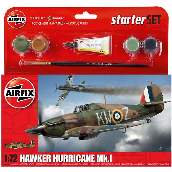 Подарочный набор Airfix Истребитель Hawker Hurricane MkI  1:72Военная техника и панорама<br>Характеристики:<br><br>• возраст: от 8 лет;<br>• материал: пластик;<br>• количество элементов: 51;<br>• масштаб: 1:72;<br>• схема покраски;<br>• в наборе: клей, кисточка, 4 краски;<br>• длина модели: 13,3 см;<br>• размах крыльев: 17,1 см;<br>• вес упаковки: 164 гр.;<br>• размер упаковки: 23,2х3х22,5 см;<br>• страна бренда: Великобритания.<br><br>Модель для сборки Hawker Hurricane MkI от Airfix изображает одноименный британский истребитель. Каждая деталь выполнена из качественного пластика, элементы детализированы под покраску.<br><br>В подробной инструкции описаны шаги к созданию идентичной копии самолета. Конструирование модели развивает усидчивость и внимательность, повышает творческие способности и задействует пространственное мышление. Стартовый набор подойдет для начинающих моделистов.<br><br>Готовая модель может стать отличным подарком близким, личным сувениром или частью коллекции сборных моделей.<br><br>Подарочный набор – Hawker Hurricane MkI Starter Set 1:72 можно купить в нашем интернет-магазине.<br>Ширина мм: 232; Глубина мм: 30; Высота мм: 225; Вес г: 164; Возраст от месяцев: 96; Возраст до месяцев: 2147483647; Пол: Мужской; Возраст: Детский; SKU: 7490485;