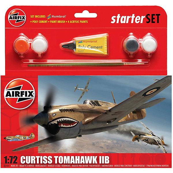 Подарочный набор Airfix Истребитель Curtiss Tomahawk IIB  1:72Самолеты и вертолеты<br>Характеристики:<br><br>• возраст: от 8 лет;<br>• материал: пластик;<br>• количество элементов: 47;<br>• масштаб: 1:72;<br>• схема покраски;<br>• в наборе: клей, кисточка, 4 краски;<br>• длина модели: 13,4 см;<br>• размах крыльев: 15,8 см;<br>• вес упаковки: 150 гр.;<br>• размер упаковки: 23,2х4,2х22,5 см;<br>• страна бренда: Великобритания.<br><br>Модель для сборки Curtiss Tomahawk IIB от Airfix изображает одноименный американский истребитель. Каждая деталь выполнена из качественного пластика, элементы детализированы под покраску.<br><br>В подробной инструкции описаны шаги к созданию идентичной копии самолета. Конструирование модели развивает усидчивость и внимательность, повышает творческие способности и задействует пространственное мышление. Стартовый набор подойдет для начинающих моделистов.<br><br>Готовая модель может стать отличным подарком близким, личным сувениром или частью коллекции сборных моделей.<br><br>Подарочный набор – Curtiss Tomahawk IIB Starter Set 1:72 можно купить в нашем интернет-магазине.<br>Ширина мм: 232; Глубина мм: 45; Высота мм: 225; Вес г: 150; Возраст от месяцев: 96; Возраст до месяцев: 2147483647; Пол: Мужской; Возраст: Детский; SKU: 7490487;