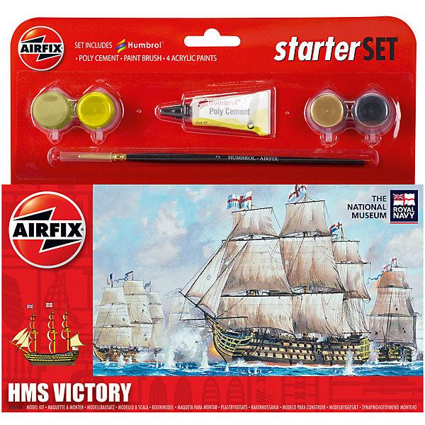 Подарочный набор Airfix Корабль HMS Victory Корабли и подводные лодки<br>Характеристики:<br><br>• возраст: от 8 лет;<br>• материал: пластик;<br>• количество элементов: 19;<br>• схема покраски;<br>• в наборе: клей, кисточка, 4 краски;<br>• длина модели: 10,5 см;<br>• ширина модели: 3 см;<br>• вес упаковки: 126 гр.;<br>• размер упаковки: 23,2х3,1х22,5 см;<br>• страна бренда: Великобритания.<br><br>Модель для сборки HMS Victory от Airfix изображает одноименный линейный корабль первого ранга Королевских ВС Великобритании. Каждая деталь выполнена из качественного пластика, элементы детализированы под покраску.<br><br>В подробной инструкции описаны шаги к созданию копии корабля. Конструирование модели развивает усидчивость и внимательность, повышает творческие способности и задействует пространственное мышление. Стартовый набор подойдет для начинающих моделистов.<br><br>Готовая модель может стать отличным подарком близким, личным сувениром или частью коллекции сборных моделей.<br><br>Подарочный набор – HMS Victory Starter Set можно купить в нашем интернет-магазине.<br>Ширина мм: 232; Глубина мм: 31; Высота мм: 225; Вес г: 126; Возраст от месяцев: 96; Возраст до месяцев: 2147483647; Пол: Мужской; Возраст: Детский; SKU: 7490488;