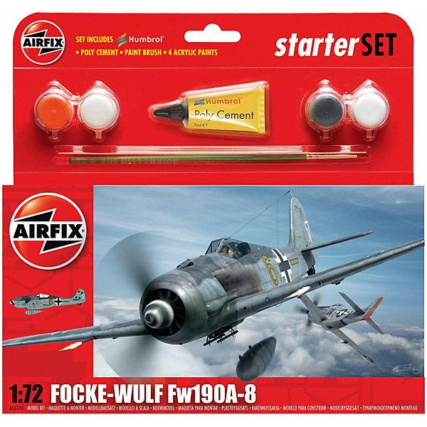 Подарочный набор Airfix Истребитель Focke Wulf 190AAirfix8  1:72Самолеты и вертолеты<br>Характеристики:<br><br>• возраст: от 8 лет;<br>• материал: пластик;<br>• количество элементов: 53;<br>• масштаб: 1:72;<br>• схема покраски;<br>• в наборе: клей, кисточка, 4 краски;<br>• длина модели: 12,5 см;<br>• размах крыльев: 14,5 см;<br>• вес упаковки: 164 гр.;<br>• размер упаковки: 23,2х3,2х22,6 см;<br>• страна бренда: Великобритания.<br><br>Модель для сборки Focke Wulf 190A-8 от Airfix изображает одноименный истребитель. Каждая деталь выполнена из качественного пластика, элементы детализированы под покраску.<br><br>В подробной инструкции описаны шаги к созданию идентичной копии самолета. Конструирование модели развивает усидчивость и внимательность, повышает творческие способности и задействует пространственное мышление. Стартовый набор подойдет для начинающих моделистов.<br><br>Готовая модель может стать отличным подарком близким, личным сувениром или частью коллекции сборных моделей.<br><br>Подарочный набор – Focke Wulf 190A-8 Starter Set 1:72 можно купить в нашем интернет-магазине.<br>Ширина мм: 232; Глубина мм: 32; Высота мм: 226; Вес г: 164; Возраст от месяцев: 96; Возраст до месяцев: 2147483647; Пол: Мужской; Возраст: Детский; SKU: 7490489;