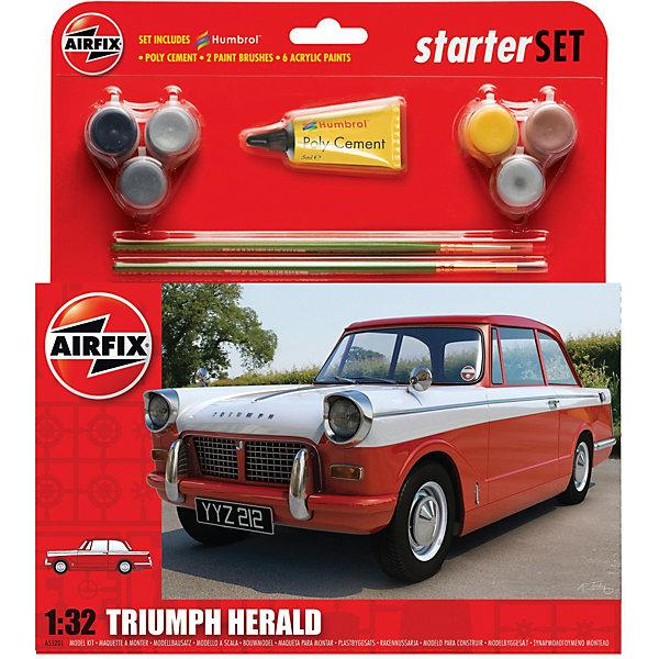 Сборная модель Airfix Автомобиль Triumph Herald 1:32Автомобили<br>Характеристики:<br><br>• возраст: от 8 лет;<br>• материал: пластик;<br>• количество элементов: 73;<br>• масштаб: 1:32;<br>• схема покраски;<br>• в наборе: клей, 2 кисточки, 6 красок;<br>• длина модели: 12,1 см;<br>• ширина модели: 4,7 см;<br>• вес упаковки: 188 гр.;<br>• размер упаковки: 23,3х4,6х28 см;<br>• страна бренда: Великобритания.<br><br>Модель для сборки Triumph Herald от Airfix изображает одноименный автомобиль. Каждая деталь выполнена из качественного пластика, элементы детализированы под покраску.<br><br>В подробной инструкции описаны шаги к созданию идентичной копии машины. Конструирование модели развивает усидчивость и внимательность, повышает творческие способности и задействует пространственное мышление. Набор подойдет для начинающих и практикующих моделистов.<br><br>Готовая модель может стать отличным подарком близким, личным сувениром или частью коллекции сборных моделей.<br><br>Подарочный набор – Triumph Herald 1:32 можно купить в нашем интернет-магазине.<br>Ширина мм: 233; Глубина мм: 46; Высота мм: 280; Вес г: 188; Возраст от месяцев: 96; Возраст до месяцев: 2147483647; Пол: Мужской; Возраст: Детский; SKU: 7490492;