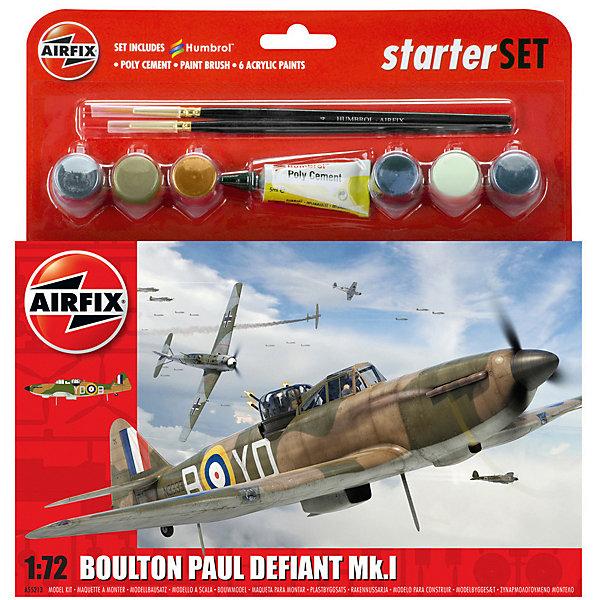 Подарочный набор Airfix Истребитель Boulton Paul Defiant Mk.I 1:72Самолеты и вертолеты<br>Характеристики:<br><br>• возраст: от 8 лет;<br>• материал: пластик;<br>• количество элементов: 70;<br>• масштаб: 1:72;<br>• схема покраски;<br>• в наборе: клей, 2 кисточки, 6 красок;<br>• длина модели: 15 см;<br>• размах крыльев: 16,6 см;<br>• вес упаковки: 184 гр.;<br>• размер упаковки: 23,2х25,1х4,5 см;<br>• страна бренда: Великобритания.<br><br>Модель для сборки Boulton Paul Defiant Mk.I от Airfix изображает одноименный истребитель. Каждая деталь выполнена из качественного пластика, элементы детализированы под покраску.<br><br>В подробной инструкции описаны шаги к созданию идентичной копии самолета. Конструирование модели развивает усидчивость и внимательность, повышает творческие способности и задействует пространственное мышление. Набор подойдет для начинающих и практикующих моделистов.<br><br>Готовая модель может стать отличным подарком близким, личным сувениром или частью коллекции сборных моделей.<br><br>Подарочный набор – Boulton Paul Defiant Mk.I 1:72 можно купить в нашем интернет-магазине.<br>Ширина мм: 232; Глубина мм: 251; Высота мм: 45; Вес г: 184; Возраст от месяцев: 96; Возраст до месяцев: 2147483647; Пол: Мужской; Возраст: Детский; SKU: 7490498;