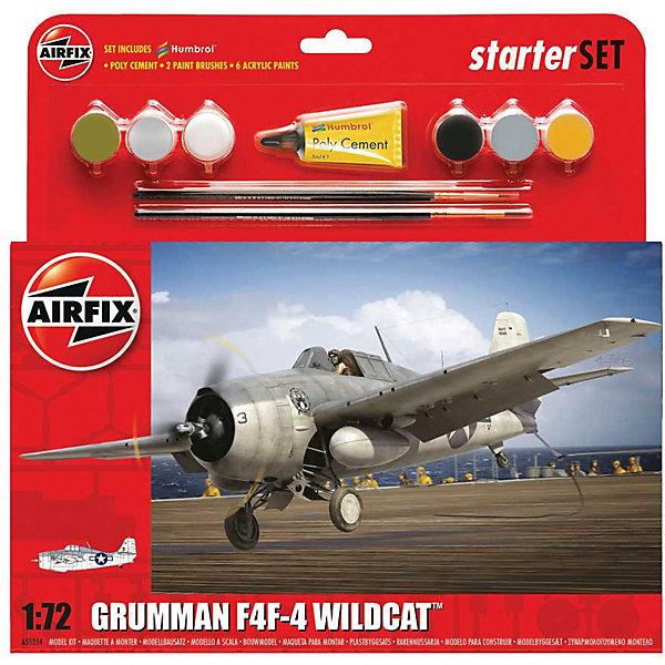 Подарочный набор Airfix Истребитель Grumman F4FAirfix4 Wildcat 1:72Самолеты и вертолеты<br>Характеристики:<br><br>• возраст: от 8 лет;<br>• материал: пластик;<br>• количество элементов: 58;<br>• масштаб: 1:72;<br>• схема покраски;<br>• в наборе: клей, 2 кисточки, 6 красок;<br>• длина модели: 12,2 см;<br>• размах крыльев: 16 см;<br>• вес упаковки: 203 гр.;<br>• размер упаковки: 23,2х4,6х25 см;<br>• страна бренда: Великобритания.<br><br>Модель для сборки Grumman F4F-4 Wildcat от Airfix изображает одноименный истребитель-бомбардировщик. Каждая деталь выполнена из качественного пластика, элементы детализированы под покраску.<br><br>В подробной инструкции описаны шаги к созданию идентичной копии самолета. Конструирование модели развивает усидчивость и внимательность, повышает творческие способности и задействует пространственное мышление. Набор подойдет для начинающих и практикующих моделистов.<br><br>Готовая модель может стать отличным подарком близким, личным сувениром или частью коллекции сборных моделей.<br><br>Подарочный набор – Grumman F4F-4 Wildcat 1:72 можно купить в нашем интернет-магазине.<br>Ширина мм: 232; Глубина мм: 46; Высота мм: 250; Вес г: 203; Возраст от месяцев: 96; Возраст до месяцев: 2147483647; Пол: Мужской; Возраст: Детский; SKU: 7490499;