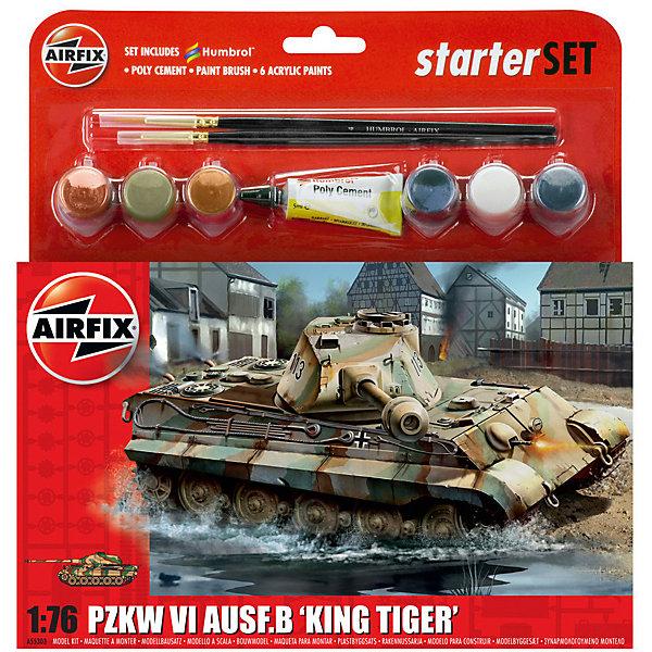 Подарочный набор Airfix №Танк King Tiger 1:76Военная техника и панорама<br>Характеристики:<br><br>• возраст: от 8 лет;<br>• материал: пластик;<br>• количество элементов: 89;<br>• масштаб: 1:76;<br>• схема покраски;<br>• в наборе: клей, 2 кисточки, 4 краски;<br>• длина модели: 13,5 см;<br>• ширина модели: 5 см;<br>• вес упаковки: 175 гр.;<br>• размер упаковки: 23х4х25 см;<br>• страна бренда: Великобритания.<br><br>Модель для сборки King Tiger Tank от Airfix изображает одноименный танк. Каждая деталь выполнена из качественного пластика, элементы детализированы под покраску.<br><br>В подробной инструкции описаны шаги к созданию идентичной копии танка. Конструирование модели развивает усидчивость и внимательность, повышает творческие способности и задействует пространственное мышление. Набор подойдет для начинающих и практикующих моделистов.<br><br>Готовая модель может стать отличным подарком близким, личным сувениром или частью коллекции сборных моделей.<br><br>Подарочный набор – King Tiger Tank Starter Set 1:76 можно купить в нашем интернет-магазине.<br>Ширина мм: 230; Глубина мм: 40; Высота мм: 250; Вес г: 175; Возраст от месяцев: 96; Возраст до месяцев: 2147483647; Пол: Мужской; Возраст: Детский; SKU: 7490500;