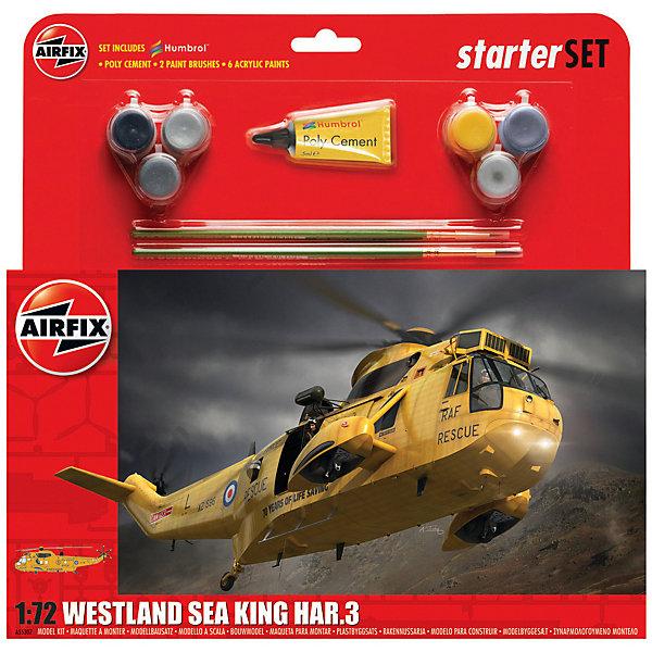 Подарочный набор  Airfix Вертолет Westland Sea King HAR.3 1:72Самолеты и вертолеты<br>Характеристики:<br><br>• возраст: от 8 лет;<br>• материал: пластик;<br>• количество элементов: 135;<br>• масштаб: 1:72;<br>• схема покраски;<br>• в наборе: клей, 2 кисточки, 6 красок;<br>• длина модели: 30,7 см;<br>• размах лопастей: 26,3 см;<br>• вес упаковки: 301 гр.;<br>• размер упаковки: 28,3х26,7х6 см;<br>• страна бренда: Великобритания.<br><br>Модель для сборки Westland Sea King HAR.3 от Airfix изображает одноименный вертолет-спасатель. Каждая деталь выполнена из качественного пластика, элементы детализированы под покраску.<br><br>В подробной инструкции описаны шаги к созданию идентичной копии вертолета. Конструирование модели развивает усидчивость и внимательность, повышает творческие способности и задействует пространственное мышление. Набор подойдет для начинающих и практикующих моделистов.<br><br>Готовая модель может стать отличным подарком близким, личным сувениром или частью коллекции сборных моделей.<br><br>Подарочный набор большой – Westland Sea King HAR.3 1:72 можно купить в нашем интернет-магазине.<br>Ширина мм: 283; Глубина мм: 267; Высота мм: 60; Вес г: 301; Возраст от месяцев: 96; Возраст до месяцев: 2147483647; Пол: Мужской; Возраст: Детский; SKU: 7490501;