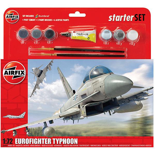 Подарочный набор  Airfix Истребитель Eurofighter Typhoon 1:72Самолеты и вертолеты<br>Характеристики:<br><br>• возраст: от 8 лет;<br>• материал: пластик;<br>• количество элементов: 65;<br>• масштаб: 1:72;<br>• схема покраски;<br>• в наборе: клей, 2 кисточки, 6 красок;<br>• длина модели: 22,1 см;<br>• размах крыльев: 15,2 см;<br>• вес упаковки: 244 гр.;<br>• размер упаковки: 28х6х26,8 см;<br>• страна бренда: Великобритания.<br><br>Модель для сборки Eurofighter Typhoon от Airfix изображает одноименный реактивный истребитель. Каждая деталь выполнена из качественного пластика, элементы детализированы под покраску.<br><br>В подробной инструкции описаны шаги к созданию идентичной копии самолета. Конструирование модели развивает усидчивость и внимательность, повышает творческие способности и задействует пространственное мышление. Набор подойдет для начинающих и практикующих моделистов.<br><br>Готовая модель может стать отличным подарком близким, личным сувениром или частью коллекции сборных моделей.<br><br>Подарочный набор большой – Eurofighter Typhoon 1:72 можно купить в нашем интернет-магазине.<br>Ширина мм: 280; Глубина мм: 60; Высота мм: 268; Вес г: 244; Возраст от месяцев: 96; Возраст до месяцев: 2147483647; Пол: Мужской; Возраст: Детский; SKU: 7490502;