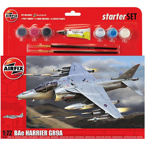 Подарочный набор  Airfix Штуровик BAe Harrier GR9A 1:72Самолеты и вертолеты<br>Характеристики:<br><br>• возраст: от 8 лет;<br>• материал: пластик;<br>• количество элементов: 126;<br>• масштаб: 1:72;<br>• схема покраски;<br>• в наборе: клей, 2 кисточки, 6 красок;<br>• вес упаковки: 288 гр.;<br>• размер упаковки: 28,2х6,2х26,7 см;<br>• страна бренда: Великобритания.<br><br>Модель для сборки BAe Harrier GR9A от Airfix изображает одноименный штурмовик вертикального взлета. Каждая деталь выполнена из качественного пластика, элементы детализированы под покраску.<br><br>В подробной инструкции описаны шаги к созданию идентичной копии самолета. Конструирование модели развивает усидчивость и внимательность, повышает творческие способности и задействует пространственное мышление. Набор подойдет для начинающих и практикующих моделистов.<br><br>Готовая модель может стать отличным подарком близким, личным сувениром или частью коллекции сборных моделей.<br><br>Подарочный набор большой – BAe Harrier GR9A 1:72 можно купить в нашем интернет-магазине.<br>Ширина мм: 282; Глубина мм: 62; Высота мм: 267; Вес г: 288; Возраст от месяцев: 96; Возраст до месяцев: 2147483647; Пол: Мужской; Возраст: Детский; SKU: 7490503;