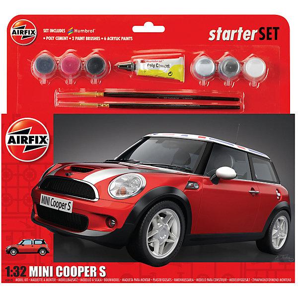 Подарочный набор  Airfix Автомобиль MINI Cooper S 1:32Автомобили<br>Характеристики:<br><br>• возраст: от 8 лет;<br>• материал: пластик;<br>• количество элементов: 73;<br>• масштаб: 1:32;<br>• схема покраски;<br>• в наборе: клей, 2 кисточки, 6 красок;<br>• вес упаковки: 257 гр.;<br>• размер упаковки: 28,2х6,3х26,7 см;<br>• страна бренда: Великобритания.<br><br>Модель для сборки Mini Cooper S от Airfix изображает одноименный автомобиль. Каждая деталь выполнена из качественного пластика, элементы детализированы под покраску.<br><br>В подробной инструкции описаны шаги к созданию идентичной копии машины. Конструирование модели развивает усидчивость и внимательность, повышает творческие способности и задействует пространственное мышление. Набор подойдет для начинающих и практикующих моделистов.<br><br>Готовая модель может стать отличным подарком близким, личным сувениром или частью коллекции сборных моделей.<br><br>Подарочный набор большой – Mini Cooper S 1:32 можно купить в нашем интернет-магазине.<br>Ширина мм: 282; Глубина мм: 63; Высота мм: 267; Вес г: 257; Возраст от месяцев: 96; Возраст до месяцев: 2147483647; Пол: Мужской; Возраст: Детский; SKU: 7490505;