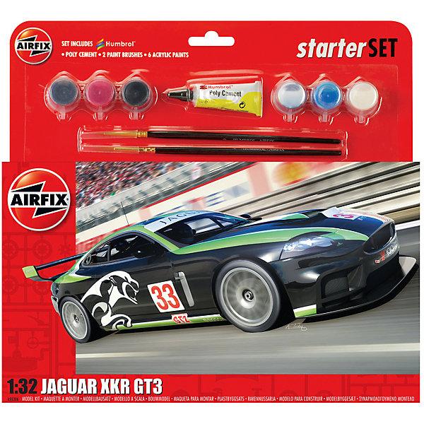 Подарочный набор  Airfix Автомобиль Jaguar XKRGT 1:32Автомобили<br>Характеристики:<br><br>• возраст: от 8 лет;<br>• материал: пластик;<br>• количество элементов: 53;<br>• масштаб: 1:32;<br>• схема покраски;<br>• в наборе: клей, 2 кисточки, 6 красок;<br>• длина модели: 15,2 см;<br>• ширина модели: 6,5 см;<br>• вес упаковки: 269 гр.;<br>• размер упаковки: 28,2х6х26,7 см;<br>• страна бренда: Великобритания.<br><br>Модель для сборки Jaguar XKRGT от Airfix изображает одноименный спортивный автомобиль. Каждая деталь выполнена из качественного пластика, элементы детализированы под покраску.<br><br>В подробной инструкции описаны шаги к созданию идентичной копии машины. Конструирование модели развивает усидчивость и внимательность, повышает творческие способности и задействует пространственное мышление. Набор подойдет для начинающих и практикующих моделистов.<br><br>Готовая модель может стать отличным подарком близким, личным сувениром или частью коллекции сборных моделей.<br><br>Подарочный набор большой – Jaguar XKRGT 1:32 можно купить в нашем интернет-магазине.<br>Ширина мм: 282; Глубина мм: 60; Высота мм: 267; Вес г: 269; Возраст от месяцев: 96; Возраст до месяцев: 2147483647; Пол: Мужской; Возраст: Детский; SKU: 7490507;
