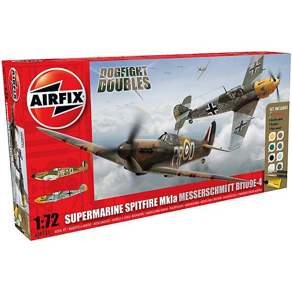 Подарочный набор Самолеты Spitfire MkIa and Messerschmitt Bf109E-4 Dogfight 1:72Самолеты и вертолеты<br>Характеристики:<br><br>• возраст: от 8 лет;<br>• материал: пластик;<br>• масштаб: 1:72;<br>• схема покраски;<br>• в комплекте: клей, 2 кисточки, 8 красок;<br>• набор: Supermarine Spitfire MkIa – 12,7х15,5 см (36 деталей); Messerschmitt Bf109E-4 – 12х13,7 см (49 деталей);<br>• вес упаковки: 380 гр.;<br>• размер упаковки: 36,4х18,6х5,4 см;<br>• страна бренда: Великобритания.<br><br>Две модели для сборки из набора Spitfire MkIa and Messerschmitt Bf109E-4 Dogfight Doubles от Airfix изображают одноименные военные самолеты. Каждая деталь выполнена из качественного пластика, элементы детализированы под покраску.<br><br>В подробной инструкции описаны шаги к созданию идентичных копий самолетов. Конструирование развивает усидчивость и внимательность, повышает творческие способности и задействует пространственное мышление. Набор подходит для практикующих моделистов.<br><br>Готовые модели могут стать отличным подарком близким, личным сувениром или частью коллекции сборных моделей.<br><br>Подарочный набор Spitfire MkIa and Messerschmitt Bf109E-4 Dogfight Doubles Gift Set 1:72 можно купить в нашем интернет-магазине.<br>Ширина мм: 364; Глубина мм: 186; Высота мм: 54; Вес г: 380; Возраст от месяцев: 96; Возраст до месяцев: 2147483647; Пол: Мужской; Возраст: Детский; SKU: 7490510;