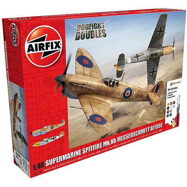 Подарочный набор  Самолеты Supermarine Spitfire против Messerschmitt 1:48Самолеты и вертолеты<br>Характеристики:<br><br>• возраст: от 8 лет;<br>• материал: пластик;<br>• масштаб: 1:48;<br>• схема покраски;<br>• в комплекте: клей, 2 кисточки, 10 красок;<br>• набор: Supermarine Spitfire Mk.Vb – 19,5х23,2 см (151 деталь); Messerschmitt Bf109E-7 – 18,3х20,5 см (107 деталей);<br>• вес упаковки: 643 гр.;<br>• размер упаковки: 37,2х26,3х7,2 см;<br>• страна бренда: Великобритания.<br><br>Две модели для сборки из набора «Supermarine Spitfire против Messerschmitt» от Airfix изображают одноименные военные самолеты. Каждая деталь выполнена из качественного пластика, элементы детализированы под покраску.<br><br>В подробной инструкции описаны шаги к созданию идентичных копий самолетов. Конструирование развивает усидчивость и внимательность, повышает творческие способности и задействует пространственное мышление. Набор подходит для практикующих моделистов.<br><br>Готовые модели могут стать отличным подарком близким, личным сувениром или частью коллекции сборных моделей.<br><br>Подарочный набор «Supermarine Spitfire против Messerschmitt» 1:48 можно купить в нашем интернет-магазине.<br>Ширина мм: 372; Глубина мм: 263; Высота мм: 72; Вес г: 643; Возраст от месяцев: 96; Возраст до месяцев: 2147483647; Пол: Мужской; Возраст: Детский; SKU: 7490511;