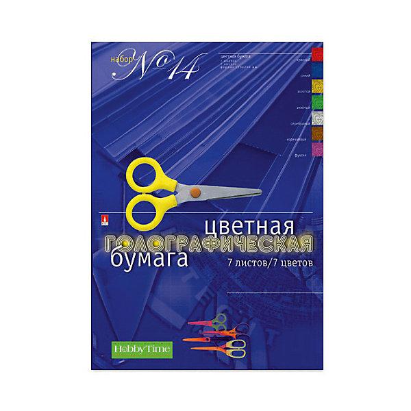 Набор цветной бумаги № 14 Альт А4, 7 листов (голографическая)