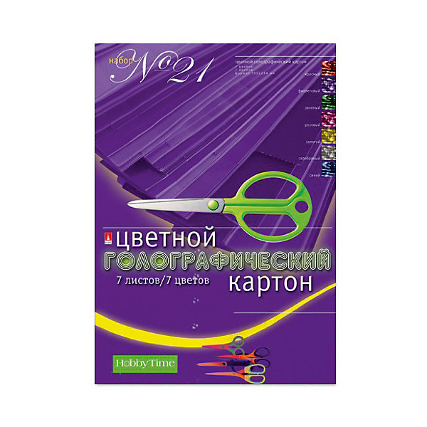 Набор цветного картона № 21 Альт А4, 7 листов (голографический)Бумажная продукция<br>Характеристики товара: <br><br>• возраст: от 6 лет;<br>• формат: А4;<br>• размер: 195х288 мм;<br>• плотность картона: 280 гр./кв.м.;<br>• количество листов: 7;<br>• количество цветов: 7;<br>• размер упаковки: 29,5х20,5х2 см;<br>• вес упаковки: 145 гр.;<br>• страна производитель: Россия.<br><br>Набор №21 цветного голографического картона Альт включает 7 листов плотного картона. Он подойдет для изготовления поделок, игрушек, открыток, украшений. Листы выполнены с нанесением голографического рисунка из блестящей фольги, благодаря чему создается магический эффект переливов. <br><br>Набор №21 цветного голографического картона Альт можно приобрести в нашем интернет-магазине.<br>Ширина мм: 295; Глубина мм: 205; Высота мм: 20; Вес г: 145; Возраст от месяцев: 72; Возраст до месяцев: 2147483647; Пол: Унисекс; Возраст: Детский; SKU: 7502259;