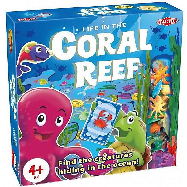 Настольная игра Tactic Games Коралловый рифНастольные игры для всей семьи<br>Характеристики:<br><br>• тип игрушки: настольная игра;<br>• возраст: от 4 лет;<br>• размер: 6х25х25 см;<br>• количество игроков: 2-4;<br>• комплектация: 12 двухсторонних частей игрового поля, 55 карточек, 4 островка с лагуной, 17 фигурок морских животных, 5 жетонов сундук с сокровищами, правила игры;<br>• вес: 500 гр;<br>• материал: картон, пластик;<br>• бренд: Tactic;<br>• страна бренда: Финляндия.<br><br>Настольная игра Tactic Games «Коралловый риф» на внимательность и быстроту реакции. В начале игрокам нужно собрать игровое поле, которое собирается из 12 элементов. Поле двухсторонее и каждый раз может быть собрано по новому - с другим расположением обитателей рифа. Поэтому запомнить их расположение не получится.<br><br>Карты с изображениями жителей рифа делятся на две колоды. Они выкладываются рубашками вверх. Одни из участников переворачивает по одной верхней карте из каждой колоды. После этого игрокам надо найти на поле обитателей с этих карт. Фигурки забирает себе игрок, первым отыскавшим нужных жителей рифа.<br><br>Если два игрока сделали это одновременно - фишка никому не достается. Если на выпавших картах есть картинка сундука с сокровищами, игроки начинают искать клад, вместо обитателей рифа. Первый, кто соберет 5 фигурок животных или 2 «сундука с сокровищами» станет победителем.<br><br>Настольную игру Tactic Games «Коралловый риф» можно купить в нашем интернет-магазине.<br>Ширина мм: 250; Глубина мм: 250; Высота мм: 62; Вес г: 1035; Возраст от месяцев: 48; Возраст до месяцев: 2147483647; Пол: Унисекс; Возраст: Детский; SKU: 7502323;