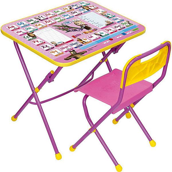 Комплект Азбука3:Маша и медв (стол+стул пл.) КПУ1/3Детские столы и стулья<br>Характеристики:<br><br>• возраст: от 3 лет;<br>• материал: металл, пластик;<br>• размер: столешницы - 60х45 см, сиденья - 26х29 см;<br>• пенал: нет;<br>• подставка для ног;<br>• пластиковый стул;<br>• высота: стол - 58 см, спинка стула - 61 см, до сиденья - 35 см;<br>• вес упаковки: 7,35 кг.;<br>• размер упаковки: 75х61,5х16 см;<br>• страна производитель: Россия.<br><br>Комплект из стола и стула от Nika станет первым собственным рабочим местом малыша. Удобная конструкция делает столик универсальным и для совсем юных, и для подросших детей.<br><br>Поверхность столешницы имеет глянцевое цветное покрытие с обучающими рисунками. Подходит для рисования маркерами на водной основе. Скругленные углы столешницы обеспечивают безопасное использование.<br><br>Сиденье и спинка стула выполнены из прочного пластика, легко моются. Комплект разработан из качественных материалов с учетом правильного развития детской осанки. Отлично подойдет для обучения и игр.<br><br>Комплект «Азбука 2: Маша и Медведь» КПУ1/3 можно купить в нашем интернет-магазине.<br>Ширина мм: 750; Глубина мм: 615; Высота мм: 160; Вес г: 7350; Цвет: розовый; Возраст от месяцев: 36; Возраст до месяцев: 84; Пол: Женский; Возраст: Детский; SKU: 7519341;