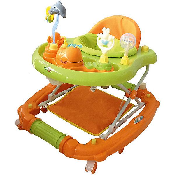 Ходунки Baby Hit Emotion Zoo, оранжевыеХодунки<br>Характеристики:<br><br>• ходунки оснащены дополнительными элементами;<br>• сиденье вращается вокруг своей оси на 360 градусов;<br>• регулируется высота ходунков: 3 положения;<br>• музыкальные и звуковые эффекты;<br>• игровая панель с развивающими игрушками;<br>• съемный батут;<br>• силиконовые сдвоенные колесики со стопорами, 8 шт.;<br>• ходунки трансформируются в качалку;<br>• материал: пластик, полиэстер, силикон;<br>• размер упаковки: 62х17х72 см;<br>• вес ходунков: 4,5 кг;<br>• вес упаковки: 5,5 кг.<br><br>Детские ходунки оснащены батутом, который можно снять, чтобы малыш исследовал квартиру. Удобное сиденье с высокой спинкой позволяет крохе удобно устроиться в ходунках. Игровая панель со звуковыми эффектами, музыкой и развивающими игрушками позволяет развивать мелкую моторику, слуховое и зрительное восприятие. Силиконовые колесики не царапают поверхность, стопоры позволяют зафиксировать ходунки в одном положении. <br><br>Ходунки Baby Hit Emotion Zoo можно купить в нашем интернет-магазине.<br>Ширина мм: 720; Глубина мм: 170; Высота мм: 620; Вес г: 6000; Цвет: оранжевый; Возраст от месяцев: 7; Возраст до месяцев: 18; Пол: Унисекс; Возраст: Детский; SKU: 7523466;