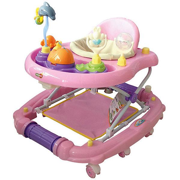 Ходунки Baby Hit Emotion Zoo, розовыеХодунки<br>Характеристики:<br><br>• ходунки оснащены дополнительными элементами;<br>• сиденье вращается вокруг своей оси на 360 градусов;<br>• регулируется высота ходунков: 3 положения;<br>• музыкальные и звуковые эффекты;<br>• игровая панель с развивающими игрушками;<br>• съемный батут;<br>• силиконовые сдвоенные колесики со стопорами, 8 шт.;<br>• ходунки трансформируются в качалку;<br>• материал: пластик, полиэстер, силикон;<br>• размер упаковки: 62х17х72 см;<br>• вес ходунков: 4,5 кг;<br>• вес упаковки: 5,5 кг.<br><br>Детские ходунки оснащены батутом, который можно снять, чтобы малыш исследовал квартиру. Удобное сиденье с высокой спинкой позволяет крохе удобно устроиться в ходунках. Игровая панель со звуковыми эффектами, музыкой и развивающими игрушками позволяет развивать мелкую моторику, слуховое и зрительное восприятие. Силиконовые колесики не царапают поверхность, стопоры позволяют зафиксировать ходунки в одном положении. <br><br>Ходунки Baby Hit Emotion Zoo можно купить в нашем интернет-магазине.<br>Ширина мм: 720; Глубина мм: 170; Высота мм: 620; Вес г: 6000; Цвет: розовый; Возраст от месяцев: 7; Возраст до месяцев: 18; Пол: Мужской; Возраст: Детский; SKU: 7523470;
