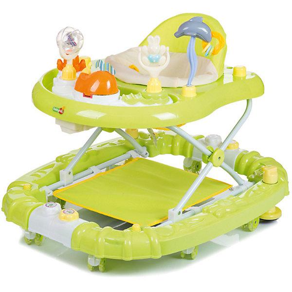 Ходунки Baby Hit Emotion Zoo, зеленыеХодунки<br>Характеристики:<br><br>• ходунки оснащены дополнительными элементами;<br>• сиденье вращается вокруг своей оси на 360 градусов;<br>• регулируется высота ходунков: 3 положения;<br>• музыкальные и звуковые эффекты;<br>• игровая панель с развивающими игрушками;<br>• съемный батут;<br>• силиконовые сдвоенные колесики со стопорами, 8 шт.;<br>• ходунки трансформируются в качалку;<br>• материал: пластик, полиэстер, силикон;<br>• размер упаковки: 62х17х72 см;<br>• вес ходунков: 4,5 кг;<br>• вес упаковки: 5,5 кг.<br><br>Детские ходунки оснащены батутом, который можно снять, чтобы малыш исследовал квартиру. Удобное сиденье с высокой спинкой позволяет крохе удобно устроиться в ходунках. Игровая панель со звуковыми эффектами, музыкой и развивающими игрушками позволяет развивать мелкую моторику, слуховое и зрительное восприятие. Силиконовые колесики не царапают поверхность, стопоры позволяют зафиксировать ходунки в одном положении. <br><br>Ходунки Baby Hit Emotion Zoo можно купить в нашем интернет-магазине.<br>Ширина мм: 720; Глубина мм: 170; Высота мм: 620; Вес г: 6000; Цвет: зеленый; Возраст от месяцев: 7; Возраст до месяцев: 18; Пол: Унисекс; Возраст: Детский; SKU: 7523472;