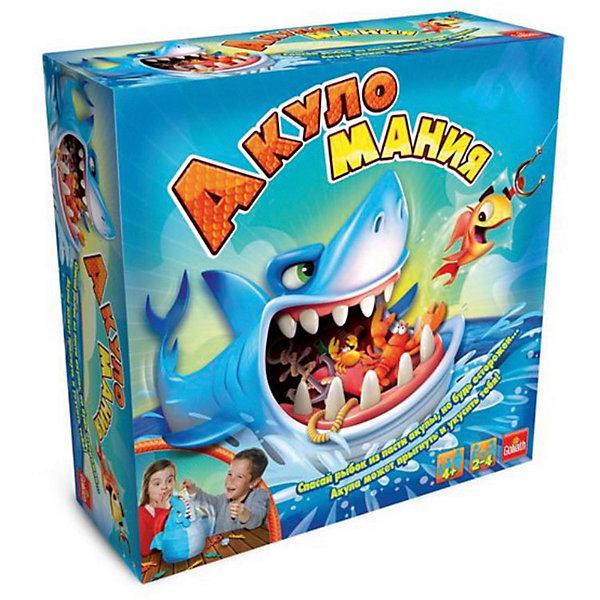 Интерактивная настольная игра Goliath АкуломанияНастольные игры для всей семьи<br>Характеристики:<br><br>• динамичная игра;<br>• количество игроков: 2-4;<br>• в комплекте: акула, 12 рыбок, удочка, наклейки, кубик, правила игры;<br>• материал: пластик;<br>• размер упаковки: 26х26х9 см.<br> <br>Рыбалка в самой пасти акулы. Игроки поочередно бросают кубик, с помощью удочки вылавливают рыбок. Только акула не дремлет – в любой момент захлопнет пасть. Победителем становится игрок, у которого будет самый крупный улов. <br><br>Goliath Игра интерактивная Акуломания, в коробке можно купить в нашем интернет-магазине.<br>Ширина мм: 90; Глубина мм: 267; Высота мм: 267; Вес г: 816; Возраст от месяцев: 48; Возраст до месяцев: 2147483647; Пол: Унисекс; Возраст: Детский; SKU: 7523547;