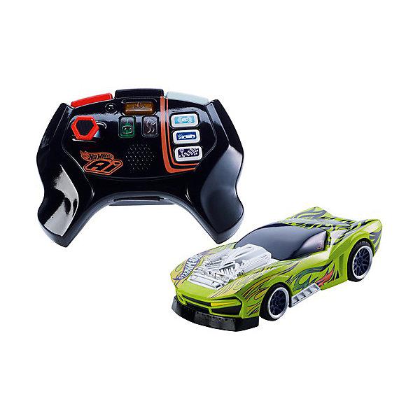 Радиоуправляемая машинка Hot Wheels Умная трасса, зеленаяРадиоуправляемые машины<br>Характеристики товара:<br><br>• возраст: от 8 лет;<br>• материал: пластик;<br>• в комплекте: машинка, контроллер;<br>• размер упаковки: 30,5х18х7,5 см;<br>• вес упаковки: 700 гр.;<br>• страна производитель: Китай.<br><br>Радиоуправляемая машинка для трассы Hot Wheels создана специально для «Умной трассы» Хот Вилс. Умная трасса с радиоуправляемыми машинками — увлекательный автотрек, дающий множество игровых возможностей. После постройки трека на нем можно не только запускать машинки, но и выбирать уровень сложности, открывать препятствия, включать автоматический режим вождения, выбирать мощность и многое другое. <br><br>В наборе представлена машинка для трека и контроллер. На нем размещены удобные и простые кнопки для управления. Выполнен джойстик из прочного пластика, имеет удобную форму, легко ложится в руке и не выскальзывает.<br><br>Радиоуправляемую машинку для трассы Hot Wheels можно приобрести в нашем интернет-магазине.<br>Ширина мм: 75; Глубина мм: 180; Высота мм: 305; Вес г: 700; Цвет: зеленый; Возраст от месяцев: 96; Возраст до месяцев: 2147483647; Пол: Мужской; Возраст: Детский; SKU: 7534366;