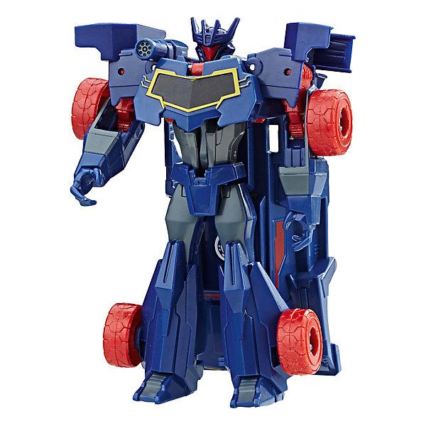 Трансформеры Hasbro Transformers Роботы под прикрытием. Уан-Стэп, СайундвейвТрансформеры-игрушки<br>Характеристики товара:<br><br>• возраст: от 5 лет;<br>• материал: пластик;<br>• высота фигурки: 12 см;<br>• размер упаковки: 17,6х15,2х4,8 см;<br>• вес упаковки: 97 гр.;<br>• страна производитель: Китай.<br><br>Фигурка Трансформеры «Роботс-ин-Дисгайс Уан-Стэп» Hasbro создана по мотивам известного мультсериала «Трансформеры: Роботы под прикрытием» про роботов-трансформеров. Фигурка несколькими простыми движениями превращается в транспортное средство. Трансформация происходит легко, с ней без труда справится ребенок.<br><br>На груди каждого робота есть специальная наклейка, отсканировав которую смартфоном или планшетом, можно получить новые возможности в мобильном приложении Robots in Disguise.<br><br>Фигурку Трансформеры «Роботс-ин-Дисгайс Уан-Стэп» Hasbro можно приобрести в нашем интернет-магазине.<br>Ширина мм: 176; Глубина мм: 152; Высота мм: 48; Вес г: 97; Возраст от месяцев: 60; Возраст до месяцев: 120; Пол: Мужской; Возраст: Детский; SKU: 7534608;