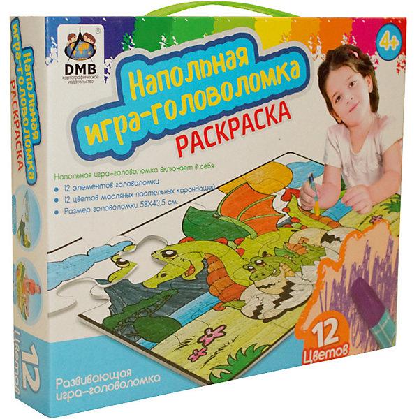 Напольный пазл-раскраска Драконы с карандашами, 12 цветовКоврики-пазлы<br>Характеристики товара:<br>• возраст: от 4 лет;<br>• количество деталей: 12 шт;<br>• материал: картон;<br>• размер упаковки: 25х27х6 см;<br>• комплектация: пазлы, маслянные карандаши 12 шт;<br>• вес упаковки: 500 гр.;<br>• страна производитель: Китай.<br>Напольный пазл-раскраска DMB (ДМБ) Драконы – это отличный способ увлекательно провести досуг, развить моторику, логическое и творческое мышление ребенка. Крупные элементы с изображением красивых зверушек можно собирать как на столе, так и на полу. Элементы выполнены из высококачественного картона и легко соединяются друг с другом. После сборки пазл можно раскасить маслянными карандашами, пастельных цветов, которые входят в комплект.<br>Напольный пазл-раскраска DMB (ДМБ) Драконы можно купить в нашем интернет-магазине.<br>Ширина мм: 250; Глубина мм: 275; Высота мм: 60; Вес г: 500; Возраст от месяцев: 48; Возраст до месяцев: 2147483647; Пол: Унисекс; Возраст: Детский; SKU: 7534935;