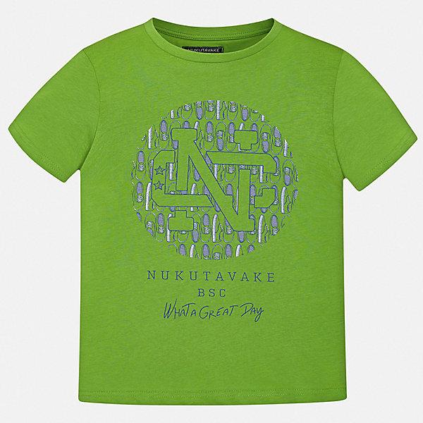 Футболка Mayoral для мальчикаФутболки, поло и топы<br>Характеристики товара:<br><br>• цвет: зеленый<br>• состав ткани: 100% хлопок<br>• сезон: лето<br>• короткие рукава<br>• страна бренда: Испания<br>• стиль и качество<br><br>Эта футболка для мальчика от Mayoral удобно сидит по фигуре. Стильная детская футболка сделана из натуральной дышащей и антиаллергенной хлопковой ткани. Детская футболка поможет создать модный и комфортный наряд для ребенка. <br><br>Футболку Mayoral (Майорал) для мальчика можно купить в нашем интернет-магазине.<br>Ширина мм: 199; Глубина мм: 10; Высота мм: 161; Вес г: 151; Цвет: зеленый; Возраст от месяцев: 96; Возраст до месяцев: 108; Пол: Мужской; Возраст: Детский; Размер: 128/134,170,164,158,152,140; SKU: 7537663;