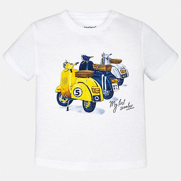 Футболка Mayoral для мальчикаФутболки, поло и топы<br>Характеристики товара:<br><br>• цвет: белый<br>• состав ткани: 100% хлопок<br>• сезон: лето<br>• короткие рукава<br>• страна бренда: Испания<br>• стиль и качество<br><br>Белая хлопковая футболка с принтом для мальчика от Майорал поможет обеспечить ребенку комфорт. Детская футболка отличается стильным и продуманным дизайном. В футболке для мальчика от испанской компании Майорал ребенок будет выглядеть модно, а чувствовать себя - удобно. <br><br>Футболку Mayoral (Майорал) для мальчика можно купить в нашем интернет-магазине.<br>Ширина мм: 199; Глубина мм: 10; Высота мм: 161; Вес г: 151; Цвет: белый; Возраст от месяцев: 6; Возраст до месяцев: 9; Пол: Мужской; Возраст: Детский; Размер: 74,98,92,86,80; SKU: 7537768;