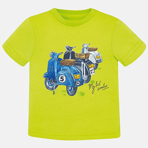Футболка Mayoral для мальчикаФутболки, поло и топы<br>Характеристики товара:<br><br>• цвет: зеленый<br>• состав ткани: 100% хлопок<br>• сезон: лето<br>• короткие рукава<br>• страна бренда: Испания<br>• стиль и качество<br><br>Яркая футболка для мальчика от Mayoral удобно сидит по фигуре. Стильная детская футболка сделана из натуральной дышащей и антиаллергенной хлопковой ткани. Детская футболка поможет создать модный и комфортный наряд для ребенка. <br><br>Футболку Mayoral (Майорал) для мальчика можно купить в нашем интернет-магазине.<br>Ширина мм: 199; Глубина мм: 10; Высота мм: 161; Вес г: 151; Цвет: зеленый; Возраст от месяцев: 12; Возраст до месяцев: 15; Пол: Мужской; Возраст: Детский; Размер: 80,98,74,86,92; SKU: 7537780;