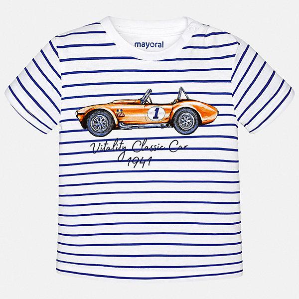 Футболка Mayoral для мальчикаФутболки, поло и топы<br>Характеристики товара:<br><br>• цвет: белый<br>• состав ткани: 100% хлопок<br>• сезон: лето<br>• короткие рукава<br>• страна бренда: Испания<br>• стиль и качество<br><br>Полосатая хлопковая футболка с принтом для мальчика от Майорал поможет обеспечить ребенку комфорт. В футболке для мальчика от испанской компании Майорал ребенок будет выглядеть модно, а чувствовать себя - удобно. Детская футболка отличается стильным и продуманным дизайном. <br><br>Футболку Mayoral (Майорал) для мальчика можно купить в нашем интернет-магазине.<br>Ширина мм: 199; Глубина мм: 10; Высота мм: 161; Вес г: 151; Цвет: синий; Возраст от месяцев: 24; Возраст до месяцев: 36; Пол: Мужской; Возраст: Детский; Размер: 98,74,80,86,92; SKU: 7537786;