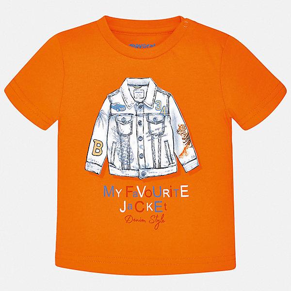 Футболка Mayoral для мальчикаФутболки, поло и топы<br>Характеристики товара:<br><br>• цвет: оранжевый<br>• состав ткани: 100% хлопок<br>• сезон: лето<br>• короткие рукава<br>• страна бренда: Испания<br>• стиль и качество<br><br>Эффектная хлопковая футболка с принтом для мальчика от Майорал поможет обеспечить ребенку комфорт. Детская футболка отличается стильным и продуманным дизайном. В футболке для мальчика от испанской компании Майорал ребенок будет выглядеть модно, а чувствовать себя - удобно. <br><br>Футболку Mayoral (Майорал) для мальчика можно купить в нашем интернет-магазине.<br>Ширина мм: 199; Глубина мм: 10; Высота мм: 161; Вес г: 151; Цвет: оранжевый; Возраст от месяцев: 6; Возраст до месяцев: 9; Пол: Мужской; Возраст: Детский; Размер: 74,98,92,86,80; SKU: 7537804;