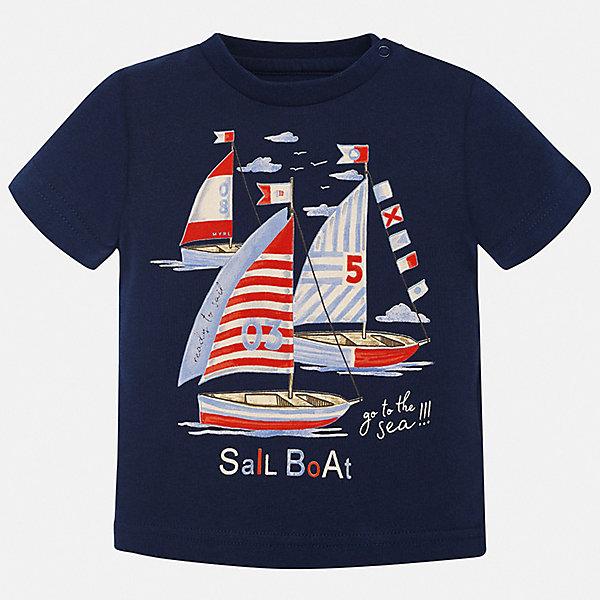 Футболка Mayoral для мальчикаФутболки, поло и топы<br>Характеристики товара:<br><br>• цвет: синий<br>• состав ткани: 100% хлопок<br>• сезон: лето<br>• короткие рукава<br>• страна бренда: Испания<br>• стиль и качество<br><br>Практичная и модная хлопковая футболка с принтом для мальчика от Майорал поможет обеспечить ребенку комфорт. Детская футболка отличается стильным и продуманным дизайном. В футболке для мальчика от испанской компании Майорал ребенок будет выглядеть модно, а чувствовать себя - удобно. <br><br>Футболку Mayoral (Майорал) для мальчика можно купить в нашем интернет-магазине.<br>Ширина мм: 199; Глубина мм: 10; Высота мм: 161; Вес г: 151; Цвет: синий; Возраст от месяцев: 6; Возраст до месяцев: 9; Пол: Мужской; Возраст: Детский; Размер: 74,98,92,86,80; SKU: 7537822;