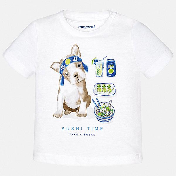 Футболка Mayoral для мальчикаФутболки, поло и топы<br>Характеристики товара:<br><br>• цвет: белый<br>• состав ткани: 100% хлопок<br>• сезон: лето<br>• короткие рукава<br>• страна бренда: Испания<br>• стиль и качество<br><br>Благодаря продуманному крою детской футболки создаются комфортные условия для тела. Эта футболка для мальчика отличается модным дизайном. Такая детская футболка с коротким рукавом декорирована стильным принтом. <br><br>Футболку Mayoral (Майорал) для мальчика можно купить в нашем интернет-магазине.<br>Ширина мм: 199; Глубина мм: 10; Высота мм: 161; Вес г: 151; Цвет: белый; Возраст от месяцев: 6; Возраст до месяцев: 9; Пол: Мужской; Возраст: Детский; Размер: 74,98,92,86,80; SKU: 7537828;