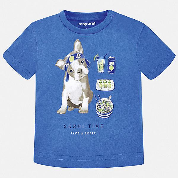 Футболка Mayoral для мальчикаФутболки, поло и топы<br>Характеристики товара:<br><br>• цвет: мульти<br>• состав ткани: 100% хлопок<br>• сезон: лето<br>• короткие рукава<br>• страна бренда: Испания<br>• стиль и качество<br><br>Хлопковая футболка с принтом для мальчика от Mayoral удобно сидит по фигуре. Стильная детская футболка сделана из натуральной дышащей и антиаллергенной хлопковой ткани. Детская футболка поможет создать модный и комфортный наряд для ребенка. <br><br>Футболку Mayoral (Майорал) для мальчика можно купить в нашем интернет-магазине.<br>Ширина мм: 199; Глубина мм: 10; Высота мм: 161; Вес г: 151; Цвет: синий; Возраст от месяцев: 6; Возраст до месяцев: 9; Пол: Мужской; Возраст: Детский; Размер: 74,98,92,86,80; SKU: 7537834;
