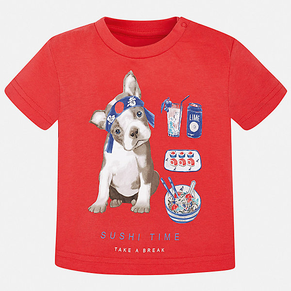 Футболка Mayoral для мальчикаФутболки, поло и топы<br>Характеристики товара:<br><br>• цвет: мульти<br>• состав ткани: 100% хлопок<br>• сезон: лето<br>• короткие рукава<br>• страна бренда: Испания<br>• стиль и качество<br><br>Трикотажная футболка с принтом для мальчика от Майорал поможет обеспечить ребенку комфорт. Детская футболка отличается стильным и продуманным дизайном. В футболке для мальчика от испанской компании Майорал ребенок будет выглядеть модно, а чувствовать себя - удобно. <br><br>Футболку Mayoral (Майорал) для мальчика можно купить в нашем интернет-магазине.<br>Ширина мм: 199; Глубина мм: 10; Высота мм: 161; Вес г: 151; Цвет: бордовый; Возраст от месяцев: 6; Возраст до месяцев: 9; Пол: Мужской; Возраст: Детский; Размер: 74,98,92,86,80; SKU: 7537840;