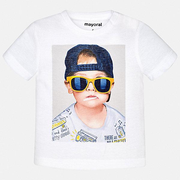 Футболка Mayoral для мальчикаФутболки, поло и топы<br>Характеристики товара:<br><br>• цвет: белый<br>• состав ткани: 100% хлопок<br>• сезон: лето<br>• короткие рукава<br>• страна бренда: Испания<br>• стиль и качество<br><br>Хлопковая футболка с принтом для мальчика от Mayoral - отличная базовая вещь для детского гардероба. Стильная детская футболка сделана из натуральной дышащей и антиаллергенной хлопковой ткани. Детская футболка поможет создать модный и комфортный наряд для ребенка. <br><br>Футболку Mayoral (Майорал) для мальчика можно купить в нашем интернет-магазине.<br>Ширина мм: 199; Глубина мм: 10; Высота мм: 161; Вес г: 151; Цвет: белый; Возраст от месяцев: 24; Возраст до месяцев: 36; Пол: Мужской; Возраст: Детский; Размер: 98,80,86,92; SKU: 7537852;