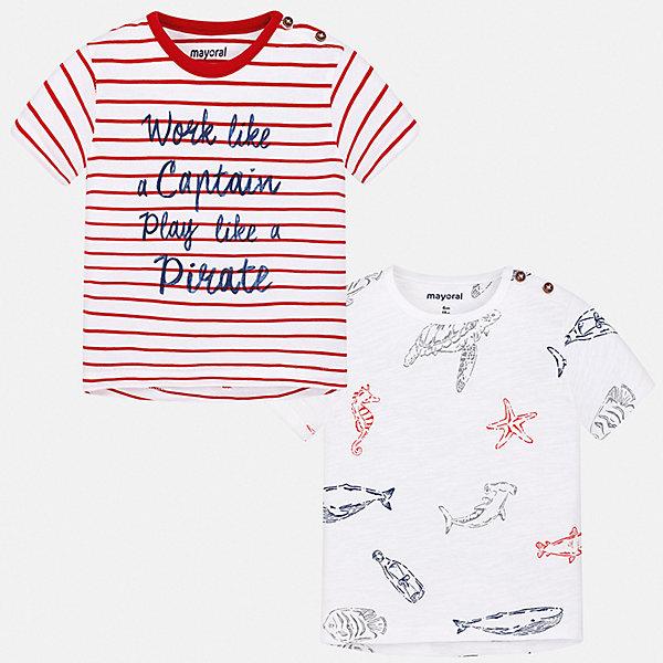Комплект:2 футболки Mayoral для мальчикаКомплекты<br>Характеристики товара:<br><br>• цвет: белый<br>• комплектация: 2 шт<br>• состав ткани: 100% хлопок<br>• сезон: лето<br>• короткие рукава<br>• страна бренда: Испания<br>• стиль и качество<br><br>Трикотажная футболка с принтом для мальчика от Майорал поможет обеспечить ребенку комфорт. В этом комплекте - сразу две удобных детских футболки. В футболке для мальчика от испанской компании Майорал ребенок будет выглядеть модно, а чувствовать себя - удобно. <br><br>Комплект: 2 футболки Mayoral (Майорал) для мальчика можно купить в нашем интернет-магазине.<br>Ширина мм: 199; Глубина мм: 10; Высота мм: 161; Вес г: 151; Цвет: бордовый; Возраст от месяцев: 6; Возраст до месяцев: 9; Пол: Мужской; Возраст: Детский; Размер: 74,98,92,86,80; SKU: 7537857;