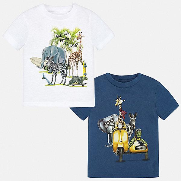 Комплект:2 футболки Mayoral для мальчикаКомплекты<br>Характеристики товара:<br><br>• цвет: белый<br>• комплектация: 2 шт<br>• состав ткани: 100% хлопок<br>• сезон: лето<br>• короткие рукава<br>• страна бренда: Испания<br>• стиль и качество<br><br>В таком комплекте от Mayoral - сразу две удобных детских футболки. В футболке для мальчика от испанской компании Майорал ребенок будет выглядеть модно, а чувствовать себя - удобно. Трикотажная футболка с принтом для мальчика от Майорал поможет обеспечить ребенку комфорт. <br><br>Комплект: 2 футболки Mayoral (Майорал) для мальчика можно купить в нашем интернет-магазине.<br>Ширина мм: 199; Глубина мм: 10; Высота мм: 161; Вес г: 151; Цвет: синий; Возраст от месяцев: 24; Возраст до месяцев: 36; Пол: Мужской; Возраст: Детский; Размер: 98,74,80,86,92; SKU: 7537934;