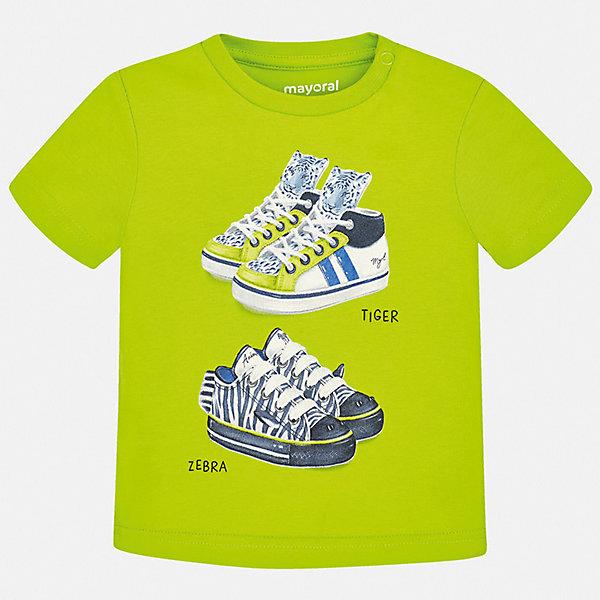 Футболка Mayoral для мальчикаФутболки, поло и топы<br>Характеристики товара:<br><br>• состав ткани: 100% хлопок<br>• сезон: лето<br>• застежка: кнопки<br>• короткие рукава<br>• страна бренда: Испания<br>• стиль и качество<br><br>Мягкая детская футболка сделана из натуральной дышащей и антиаллергенной хлопковой ткани. Эта детская футболка поможет создать стильный и комфортный наряд для ребенка. Хлопковая футболка с принтом для мальчика от Mayoral - отличная базовая вещь для детского гардероба. <br><br>Футболку Mayoral (Майорал) для мальчика можно купить в нашем интернет-магазине.<br>Ширина мм: 199; Глубина мм: 10; Высота мм: 161; Вес г: 151; Цвет: зеленый; Возраст от месяцев: 12; Возраст до месяцев: 15; Пол: Мужской; Возраст: Детский; Размер: 80,92,86,98; SKU: 7537945;
