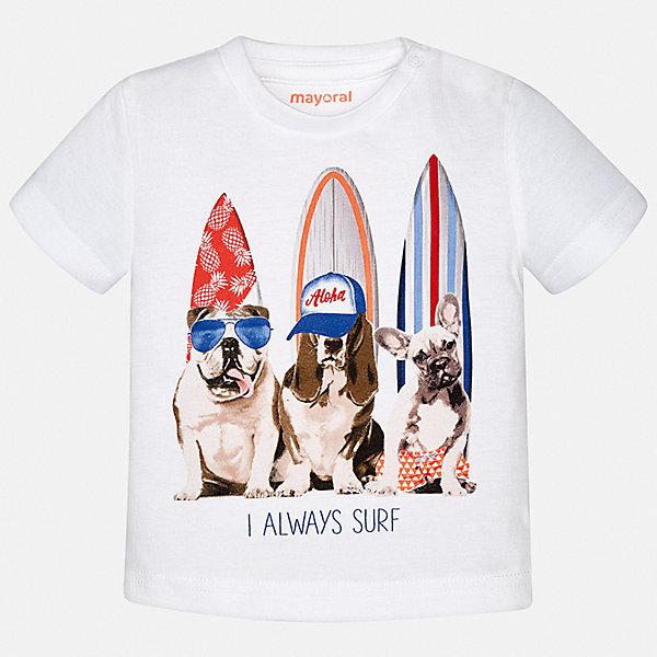 Футболка Mayoral для мальчикаФутболки, поло и топы<br>Характеристики товара:<br><br>• состав ткани: 100% хлопок<br>• сезон: лето<br>• застежка: кнопки<br>• короткие рукава<br>• страна бренда: Испания<br>• стиль и качество<br><br>Хлопковая детская футболка отличается качественным материалом, а также стильным и продуманным дизайном. В футболке для мальчика от испанской компании Майорал ребенок будет выглядеть модно, а чувствовать себя - удобно. Трикотажная футболка с принтом для мальчика от Майорал поможет обеспечить ребенку комфорт. <br><br>Футболку Mayoral (Майорал) для мальчика можно купить в нашем интернет-магазине.<br>Ширина мм: 199; Глубина мм: 10; Высота мм: 161; Вес г: 151; Цвет: белый; Возраст от месяцев: 24; Возраст до месяцев: 36; Пол: Мужской; Возраст: Детский; Размер: 98,80,86,92; SKU: 7537950;