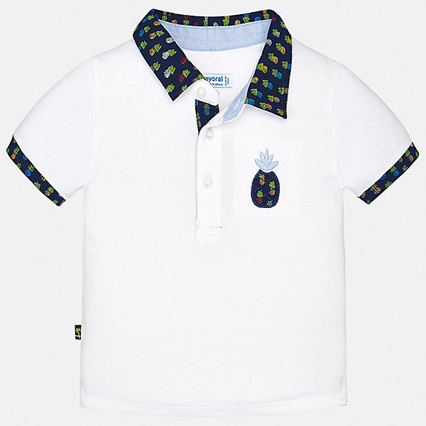 Футболка-поло Mayoral для мальчикаОдежда<br>Характеристики товара:<br><br>• цвет: белый<br>• состав ткани: 100% хлопок<br>• сезон: лето<br>• особенности модели: отложной воротник<br>• застежка: пуговицы<br>• короткие рукава<br>• страна бренда: Испания<br>• стиль и качество<br><br>Белая футболка-поло для мальчика отличается стильным продуманным дизайном. Детская футболка-поло с коротким рукавом сделана из натурального дышащего материала, который не вызывает аллергии. Благодаря продуманному крою детской футболки-поло создаются комфортные условия для тела. <br><br>Футболку-поло Mayoral (Майорал) для мальчика можно купить в нашем интернет-магазине.<br>Ширина мм: 199; Глубина мм: 10; Высота мм: 161; Вес г: 151; Цвет: белый; Возраст от месяцев: 12; Возраст до месяцев: 15; Пол: Мужской; Возраст: Детский; Размер: 80,98,86,92; SKU: 7537995;