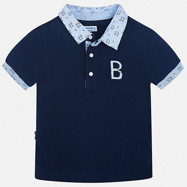 Футболка-поло Mayoral для мальчикаФутболки, поло и топы<br>Характеристики товара:<br><br>• цвет: синий<br>• состав ткани: 100% хлопок<br>• сезон: лето<br>• особенности модели: отложной воротник<br>• застежка: пуговицы<br>• короткие рукава<br>• страна бренда: Испания<br>• стиль и качество <br><br>Практичная и модная футболка-поло для мальчика от Mayoral удобно сидит по фигуре. Стильная детская футболка-поло сделана из натуральной хлопковой ткани. Отличный способ обеспечить ребенку комфорт и стильный вид - надеть детскую футболку-поло от Mayoral. Детская футболка-поло сшита из приятного на ощупь материала. <br><br>Футболку-поло Mayoral (Майорал) для мальчика можно купить в нашем интернет-магазине.<br>Ширина мм: 199; Глубина мм: 10; Высота мм: 161; Вес г: 151; Цвет: синий; Возраст от месяцев: 12; Возраст до месяцев: 15; Пол: Мужской; Возраст: Детский; Размер: 80,98,92,86; SKU: 7538000;