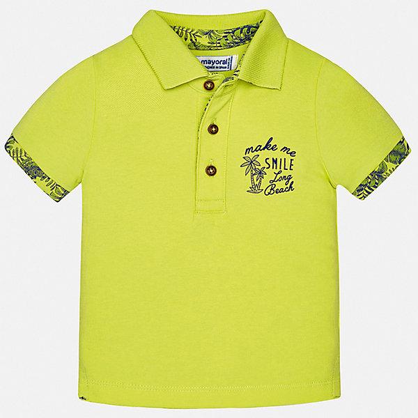 Футболка Mayoral для мальчикаФутболки, поло и топы<br>Характеристики товара:<br><br>• цвет: желтый<br>• состав ткани: 95% хлопок, 5% эластан<br>• сезон: лето<br>• особенности модели: отложной воротник<br>• застежка: пуговицы<br>• короткие рукава<br>• страна бренда: Испания<br>• стиль и качество <br><br>Яркая футболка-поло для мальчика от Mayoral поможет с детства приучить ребенка к модным вещам. Стильная детская футболка-поло сделана из натуральной хлопковой ткани. Отличный способ обеспечить ребенку комфорт и стильный вид - надеть детскую футболку-поло от Mayoral. Детская футболка-поло сшита из приятного на ощупь материала. <br><br>Футболку-поло Mayoral (Майорал) для мальчика можно купить в нашем интернет-магазине.<br>Ширина мм: 199; Глубина мм: 10; Высота мм: 161; Вес г: 151; Цвет: зеленый; Возраст от месяцев: 12; Возраст до месяцев: 15; Пол: Мужской; Возраст: Детский; Размер: 80,98,92,86; SKU: 7538064;