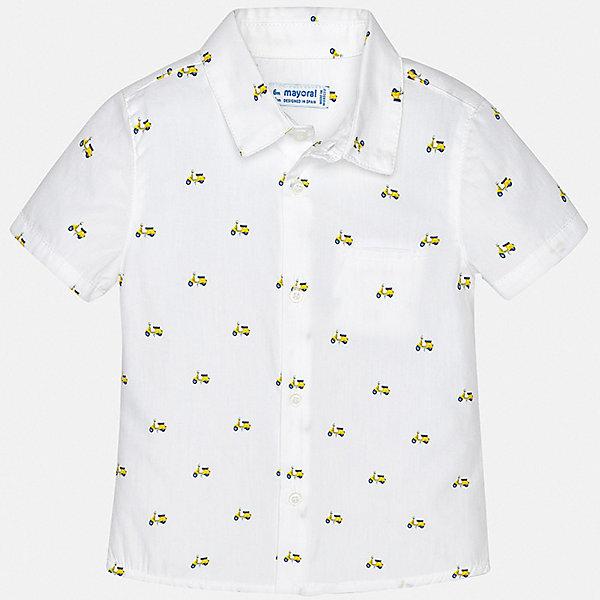 Рубашка Mayoral для мальчикаБлузки и рубашки<br>Характеристики товара:<br><br>• цвет: белый<br>• состав ткани: 100% хлопок<br>• сезон: лето<br>• застежка: пуговицы<br>• короткие рукава<br>• страна бренда: Испания<br>• стиль и качество<br><br>Белая детская рубашка сделана из дышащего приятного на ощупь материала. Благодаря продуманному крою детской рубашки создаются комфортные условия для тела. Рубашка с коротким рукавом для мальчика отличается лаконичным продуманным дизайном.<br><br>Рубашку Mayoral (Майорал) для мальчика можно купить в нашем интернет-магазине.<br>Ширина мм: 174; Глубина мм: 10; Высота мм: 169; Вес г: 157; Цвет: желтый; Возраст от месяцев: 12; Возраст до месяцев: 15; Пол: Мужской; Возраст: Детский; Размер: 80,98,92,86; SKU: 7538079;