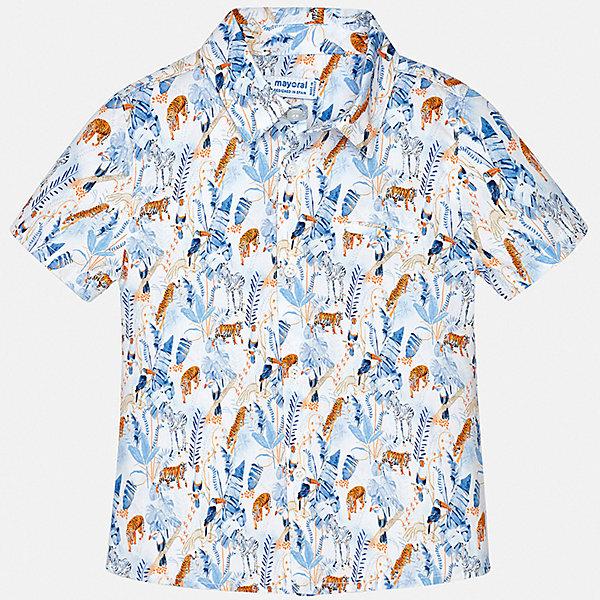 Рубашка Mayoral для мальчикаБлузки и рубашки<br>Характеристики товара:<br><br>• цвет: белый<br>• состав ткани: 100% хлопок<br>• сезон: лето<br>• застежка: пуговицы<br>• короткие рукава<br>• страна бренда: Испания<br>• стиль и качество<br><br>Такая рубашка с коротким рукавом для мальчика Mayoral удобно сидит по фигуре. Стильная детская рубашка сделана из натуральной хлопковой ткани. Отличный способ обеспечить ребенку комфорт и аккуратный внешний вид - надеть детскую рубашку от Mayoral. Детская рубашка с коротким рукавом сшита из приятного на ощупь материала, который позволяет коже дышать. <br><br>Рубашку Mayoral (Майорал) для мальчика можно купить в нашем интернет-магазине.<br>Ширина мм: 174; Глубина мм: 10; Высота мм: 169; Вес г: 157; Цвет: голубой; Возраст от месяцев: 12; Возраст до месяцев: 15; Пол: Мужской; Возраст: Детский; Размер: 80,98,92,86; SKU: 7538084;