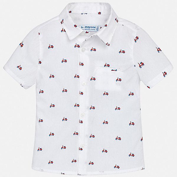 Рубашка Mayoral для мальчикаБлузки и рубашки<br>Характеристики товара:<br><br>• цвет: белый<br>• состав ткани: 100% хлопок<br>• сезон: лето<br>• застежка: пуговицы<br>• короткие рукава<br>• страна бренда: Испания<br>• стиль и качество<br><br>В рубашке для мальчика от испанской компании Майорал ребенок будет выглядеть оригинально и аккуратно. Эта хлопковая рубашка для мальчика от Майорал поможет создать стильный и удобный наряд. Детская рубашка отличается модным и продуманным дизайном. <br><br>Рубашку Mayoral (Майорал) для мальчика можно купить в нашем интернет-магазине.<br>Ширина мм: 174; Глубина мм: 10; Высота мм: 169; Вес г: 157; Цвет: бордовый; Возраст от месяцев: 12; Возраст до месяцев: 15; Пол: Мужской; Возраст: Детский; Размер: 80,98,92,86; SKU: 7538089;