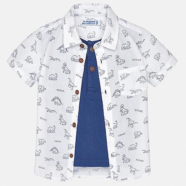 Рубашка Mayoral для мальчикаБлузки и рубашки<br>Характеристики товара:<br><br>• цвет: белый<br>• состав ткани: 100% хлопок<br>• сезон: лето<br>• застежка: пуговицы<br>• короткие рукава<br>• страна бренда: Испания<br>• стиль и качество<br><br>Легкая рубашка для мальчика от Майорал поможет создать стильный и удобный наряд в жаркое время года. Детская рубашка отличается модным и продуманным дизайном. В рубашке для мальчика от испанской компании Майорал ребенок будет выглядеть оригинально и аккуратно. <br><br>Рубашку Mayoral (Майорал) для мальчика можно купить в нашем интернет-магазине.<br>Ширина мм: 174; Глубина мм: 10; Высота мм: 169; Вес г: 157; Цвет: белый; Возраст от месяцев: 6; Возраст до месяцев: 9; Пол: Мужской; Возраст: Детский; Размер: 74,98,92,86,80; SKU: 7538105;