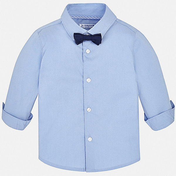 Рубашка Mayoral для мальчикаБлузки и рубашки<br>Характеристики товара:<br><br>• цвет: белый<br>• комплектация: рубашка и галстук-бабочка<br>• состав ткани: 72% хлопок, 25% полиамид, 3% эластан<br>• сезон: круглый год<br>• особенности модели: нарядная<br>• застежка: пуговицы<br>• длинные рукава<br>• страна бренда: Испания<br>• стиль и качество<br><br>Такая рубашка с длинным рукавом для мальчика Mayoral идеально подходит для торжественных случаев. Стильная детская рубашка сделана из натуральной хлопковой ткани. Детская рубашка сшита из приятного на ощупь материала, который позволяет коже дышать. <br><br>Рубашку Mayoral (Майорал) для мальчика можно купить в нашем интернет-магазине.<br>Ширина мм: 174; Глубина мм: 10; Высота мм: 169; Вес г: 157; Цвет: голубой; Возраст от месяцев: 12; Возраст до месяцев: 15; Пол: Мужской; Возраст: Детский; Размер: 80,98,92,86; SKU: 7538116;